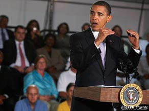 Obama, pictured July 1 in Virginia, has been touring the states to promote his plan to voters.