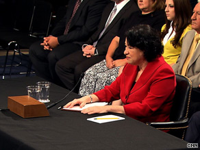 Sonia Sotomayor speaks before the Senate Judiciary Committe on Tuesday, the second day of her hearings.