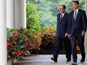 President Obama and Iraqi Prime Minister Nuri al-Maliki talk Wednesday at the White House.