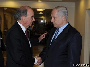 U.S. Mideast peace envoy George Mitchell, left, meets Israeli Prime Minister Benjamin Netanyahu on Tuesday.