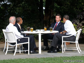 Sgt. James Crowley and professor Henry Louis Gates Jr. sit down with the president and vice president Thursday.