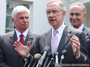 Sen. Harry Reid speaks after a meeting with President Obama about a bipartisan health care bill.