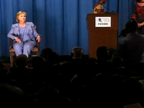 Hillary Clinton became visibly angry after a translator asked what Bill Clinton would think regarding an issue.