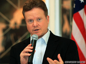 Jim Webb speaks at  a press conference in Laos Thursday as part of a two-week Southeast Asia trip.