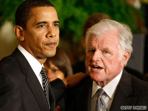 Massachusetts Sen. Ted Kennedy meets with President Obama in March 2009