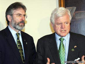 Senator Edward Kennedy, right, pictured with Northern Irish politician Gerry Adams in 1996