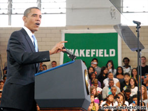 President Obama speaks to students Tuesday at Wakefield High School in Arlington, Virginia.