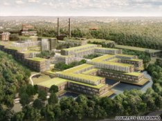 Rendering of future Coast Guard headquarters, with green roof designed to capture and reuse water.