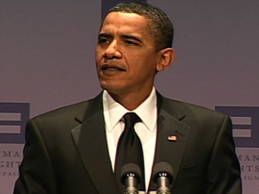 President Obama speaks Saturday night at the Human Rights Campaign dinner in Washington.