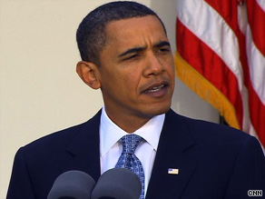 ''Now's not the time to pat ourselves on the back,'' President Obama says at the White House on Tuesday.
