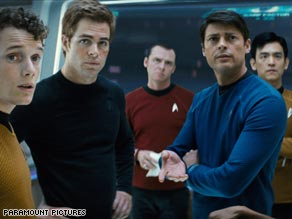 From L-R: Anton Yelchin as Pavel Chekov, Chris Pine as James T. Kirk, Simon Pegg as Scottie, Karl Urban as Dr. Leonard 'Bones' McCoy and John Cho as Hikaru Sulu