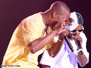 T.I., left, performed to a packed crowd Sunday, days before he was to start a prison term.