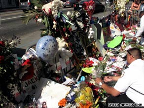 Grauman's Chinese Theatre in Los Angeles is the scene of a makeshift Michael Jackson memorial Wednesday.