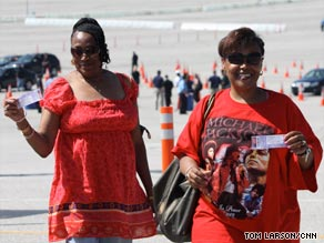 Tickets for the Michael Jackson memorial tribute were handed out on Monday in Los Angeles, California.