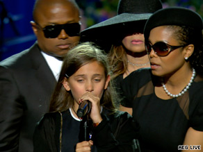 Paris Michael Katherine Jackson, 11, said goodbye to her father at the close of the memorial service.