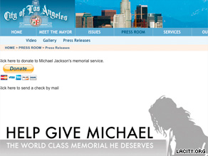A donation page on the City of Los Angeles' Web site has crashed several times since its launch yesterday.