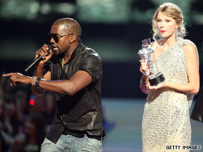 Kanye West created a rant when he hijacked Taylor Swift's speech at the 2009 MTV Video Music Awards.