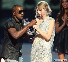 Kanye West grabs Swift's mic at MTV awards