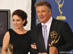 "Tina Fey and Alec Baldwin hold their Emmys for ""30 Rock,"" which won best comedy series."