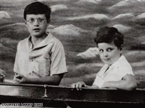 Larry, left, at age 10 with his younger brother, Marty, shortly after their father died.