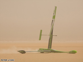 Greenbird, driven by Briton Richard Jenkins has claimed the land sailing speed record