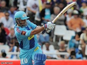 Tendulkar plays a ball away to leg during the opening match of the IPL.