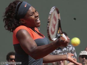 Serena shows the pain as she slumps to French Open quarterfinal defeat against her Russian rival.