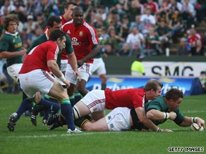 Captain John Smit goes over for the Springboks' opening try in their victory over the Lions