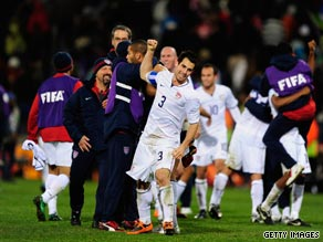 Carlos Bocanegra (No.3) leads the celebrations after the United States defeated Spain 2-0.