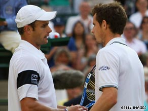 Roddick (left) and Murray embrace after the American prevailed in a classic Wimbledon semifinal.