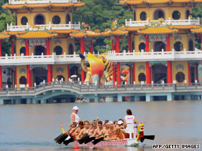A Hungary dragon boat team practices on the Lotus Pond in Kaohsiung, Taiwan, on Thursday.