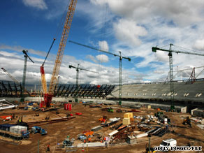 Work continues on the Olympic Stadium on May 15 in London, England.