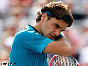Federer collapsed dramatically in the final set to lose to Tsonga.