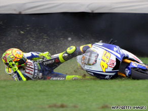 Valentino Rossi ploughed into the grass alongside the Indianapolis circuit when he crashed out.