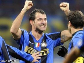 Dejan Stankovic celebrates scoring Inter's second goal in the superb 2-1 victory over city rivals AC Milan.