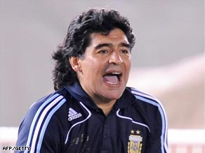 Maradona shows his delight as his star-studded team beat Venezuela.