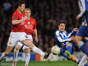 Rodriguez fires Porto into a shock early lead at Old Trafford where they held United to a 2-2 first leg draw.