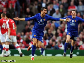 Cristiano Ronaldo celebrates scoring United's second goal as they reached the Champions League final.