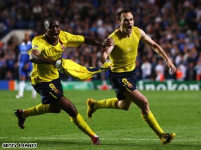 Andres Iniesta (right) celebrates his stunning last-gasp strike as Barcelona reached the Champions League final.