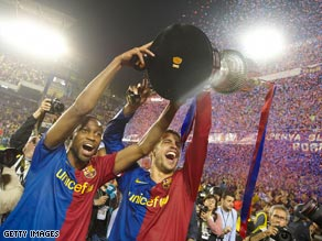 Barcelona's players were delighted to get their hands on silverware after three years.