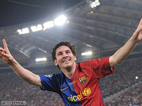 Lionel Messi scored Barcelona's second as they beat Manchester United 2-0 to be crowned European champions.