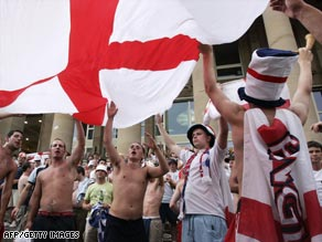 England fans celebrate following victory against Ecuador at the 2006 World Cup finals.