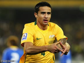Tim Cahill celebrates his first goal in Australia's 2-1 win over South Korea.
