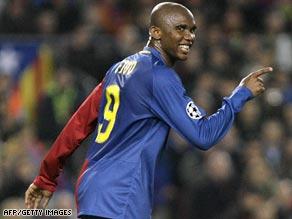 Top scorer Samuel Eto'o helped Barcelona to win an unprecedented treble last season.