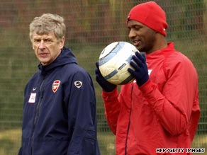 Arsene Wenger, left, is debating whether to bring back former Arsenal captain Patrick Vieira, right.