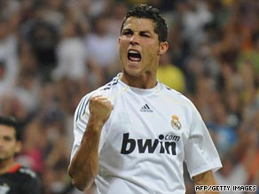 Cristiano Ronaldo celebrates after paying off a small chunk of his record transfer fee with a goal on his Real debut.