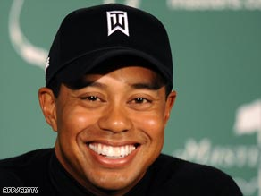 Woods is all smiles as he contemplates a fifth Masters green jacket.