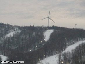 The Zephyr wind turbine towers over Jiminy Peak Mountain Resort in Massachusetts.
