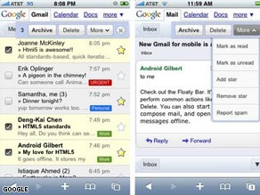 Google's new Web-based version of Gmail, seen here for the iPhone, offers improved features.