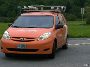 Each orange Tele Atlas mapping van has six cameras, two side-sweeping lasers and a GPS on its roof.